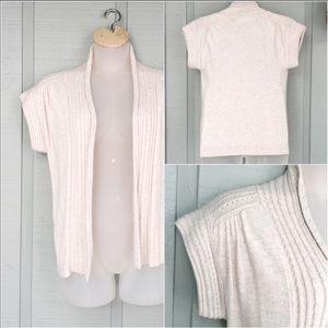 • Zara Knit Angora Short Sleeve Cardigan Sweater